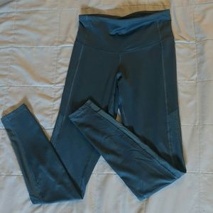 Blue-gray workout leggings.